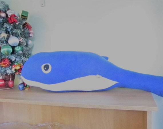 Bertie Blue Whale Ornamental Toy Blue Fleece Ornamental Whales Toy Blue Ornamental Feature Photographers' Prop Available in Other Colours