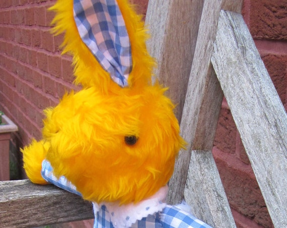 Betty Bunny Rabbit Dressed Yellow Rabbit Ornamental Gift for Kids or Adults Decorative Ornamental Traditional Rabbit Collectible Decor Item