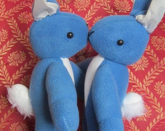 Blue Fleece/Two-Colour Bunny Rabbit Toys Unbreakable Cuddly Rabbit Toys Photography Prop/Ornamental Fleece Toys  Nursery/Bedroom Decorations