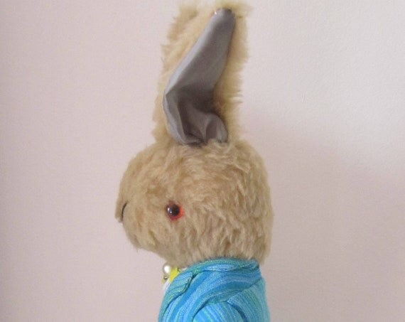 Jeremy Brown Plush Rabbit  Dressed Ornamental Rabbit Toy Fun Gift for Him Collectible Bedroom Decoration Christening Gift Decor for Nursery