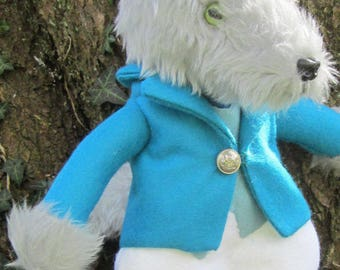 Wilfred Wolf Grey Plush Ornamental Toy Silver Wolf Plush Decoration Grey Plush Dressed Wolf Decoration Unbreakable Ornamental Dressed Wolf
