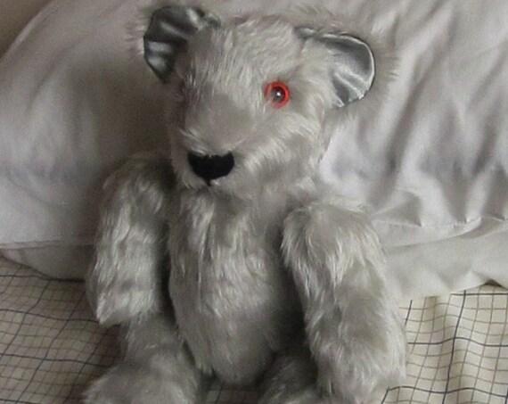 Silver Plush  Cuddly Teddy Bear  Silver Plush Toy Teddy Bear Plush Solemn Ornamental Bear Toy Adult Companion Toys Nursery Bed Adornments