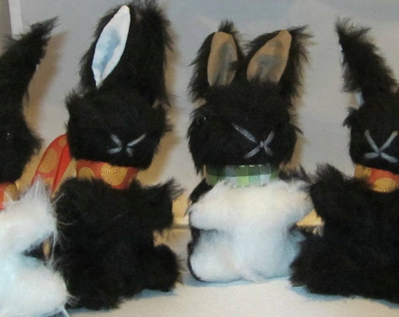 Baby Black Bunny Rabbit Stuffed Black and White Toy Adoption Intro Toy Shower Basket Bedroom Decor Pram or Cot Toy Nursery Mobile Small Toy