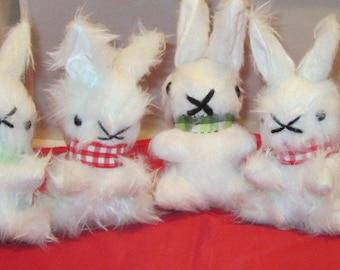 White Plush Bunny Nursery Ornament White Baby Rabbit Pram or Cot Toy Bedroom Decor Item Unbreakable Toy Bedroom Adornment Shower Basket Item