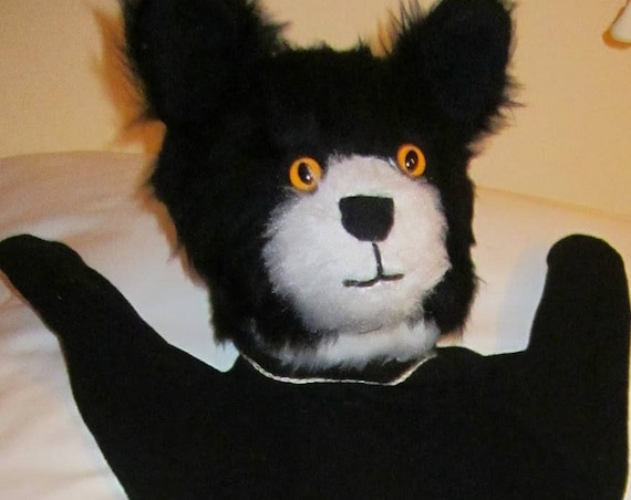 Black and White Cat Hand Puppet Black Cat Arm Puppet Activity Toy Made to Measure Toy  Counsellors' Aid Tool Teachers' Activity Play Helper.