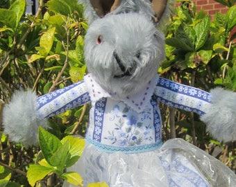 Grace Grey Plush Dressed Rabbit Traditional Toy Ornamental Toy Gift for Wife Decorative Toy Ornamental Decor Item Baby Shower Presentation