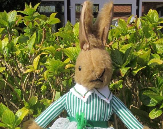Brenda Bunny Brown Plush Rabbit Dressed Stuffed Rabbit Ornamental Toy Nursery Decor Christening Present  Wife Fun Present Decorative Toy