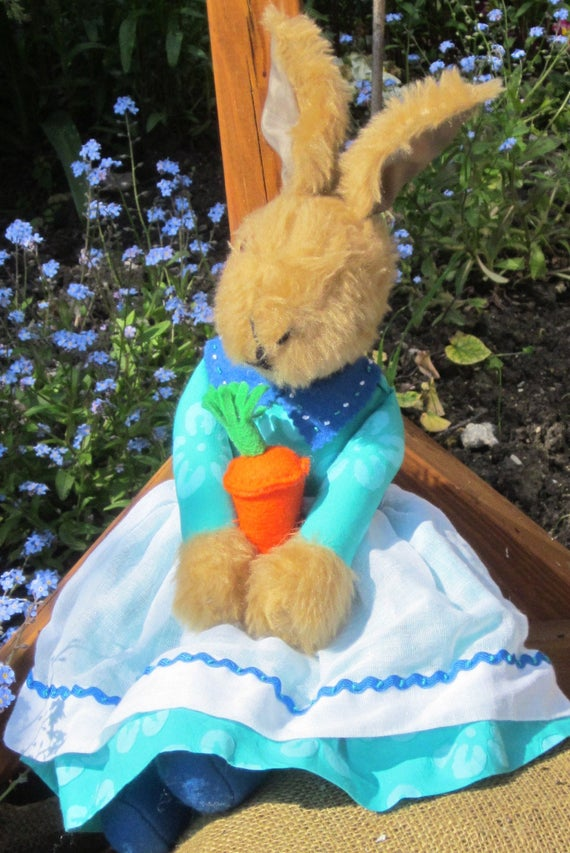 Jemima Bunny Plush Dressed Rabbit Collectible Gift Unusual Toy Ornaments (Carrot opt.) Childhood Memories Gift for Wife Fun Girlfriend Gift