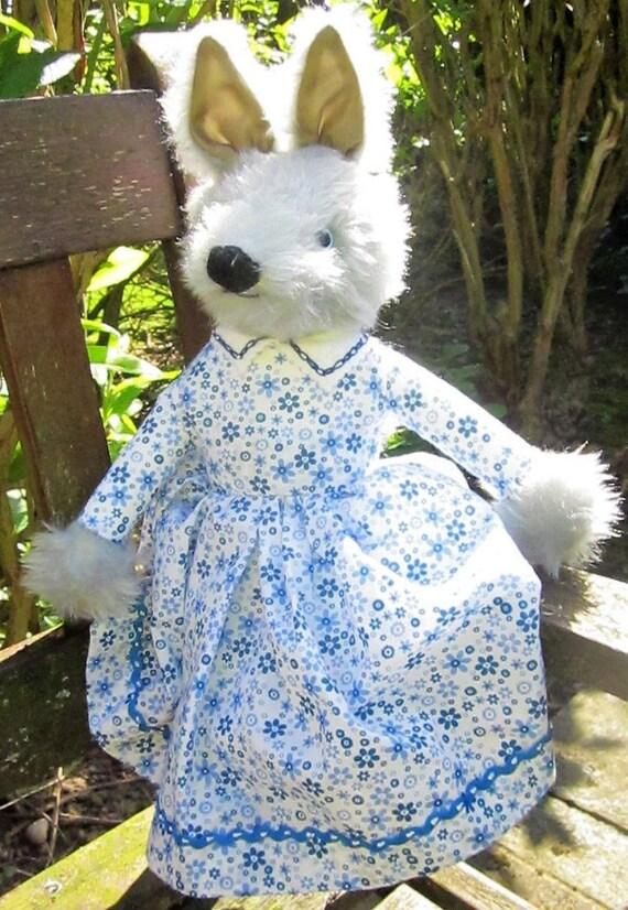 Grey Wolf Toy Ornament Grey Wolf Dressed Toy Dressed Toy Ornamental Wolf Wolf Stress Buster Toy Ornamental Wolf Toy Wolf Toy Dressed in Blue
