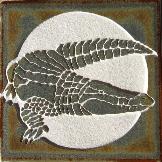 Alligator Ceramic Wall Art Tile 4x4 Coaster