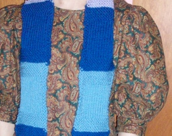 """Sale! Hand Knit Scarf """"Jeweled Windows"""" blue beige and lavender scarf"""
