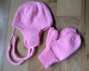 Sale! Petal Pink Mittens and ear flap Hat Set