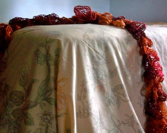 Sale! Pumpkin and Leaves Ruffled Scarf for women and girls