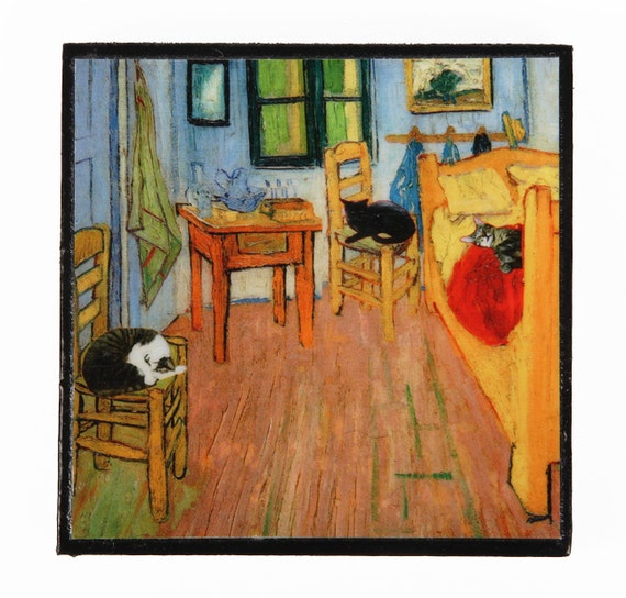 Cat Magnets Vincent Van Gogh Cat Artwork Refrigerator Etsy