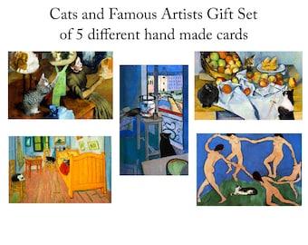 Blank Cards, Cat Lover Gift, Handmade Note Cards, Notecard Set (5), Assorted Greeting Cards, Deborah Julian