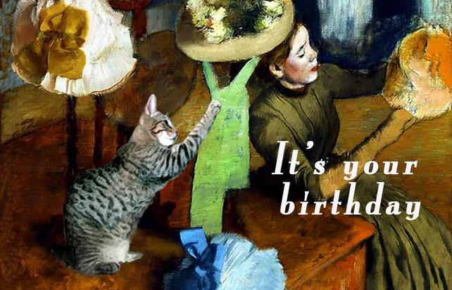 Cat Lover Fine Art Birthday Card Handmade Artwork Funny Cards Happy Friend Deborah Julian
