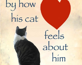 Cat Dad, Cat Art Print, Gifts for Him, Gifts for Dad, Cat Lover Gift,  Husband Gift, Valentines Day Gift for Him, Deborah Julian