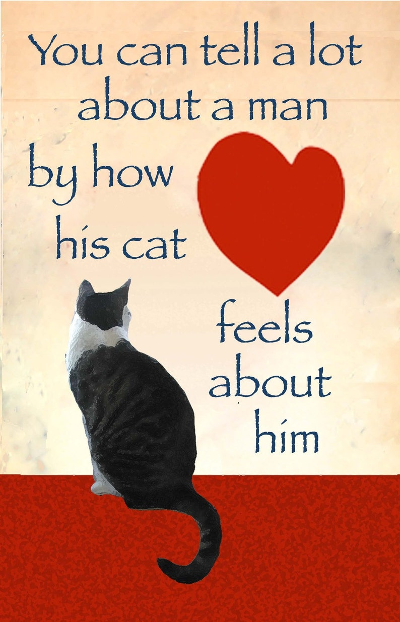 Cat Dad Cat Art Print Gifts for Him Gifts for Dad Cat image 0
