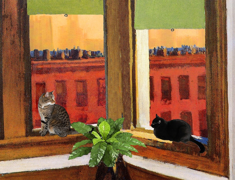Edward Hopper Cat Art Print Matted Gifts For Friends Cat image 0