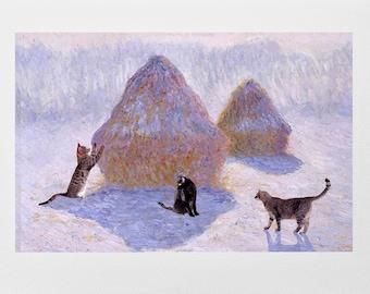 Cat Card- Claude Monet haystacks- Impressionist Art- Hand Made Cat Art Card- Deborah Julian