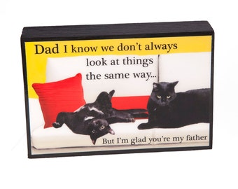 Gifts For Dad, Art On Wood, Dad Birthday Gift, Cat Art, Fathers Day Gift, Dad Gifts,  by Deborah Julian