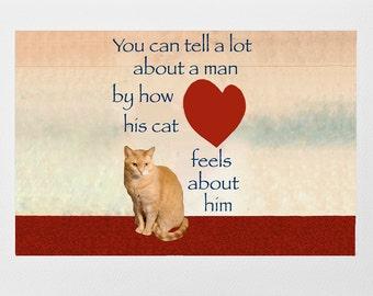 Blank Cards for Him, Valentines Day, Fathers Day, Cat Lovers, Handmade, Cat Artwork, Tabby Cat, Deborah Julian Art