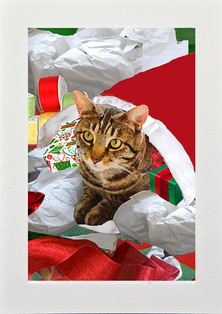 Christmas Cards Cat Art Handmade Holiday Cards Tabby Cat | Etsy