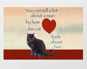 Gifts for Men, Black Cat Lovers Card, Valentines Fathers Day Birthday Card, Cat Crazy Man, Deborah Julian