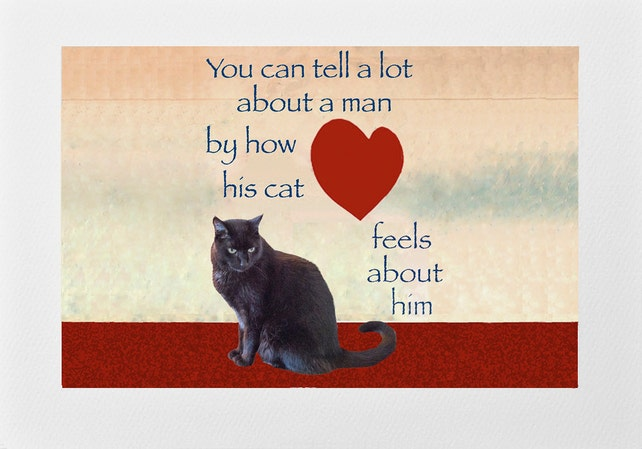 Gifts For Men Black Cat Lovers Card Valentines Fathers Day Birthday Crazy Man Deborah Julian