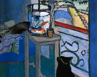 Blank Note Cards, Henri Matisse Goldfish, Cat Greeting Cards, Notecard Set of 5, Cat Art, Stationery, Deborah Julian