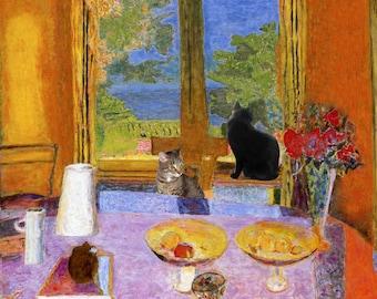 Lunch with Pierre Bonnard Cat Art Parody by Deborah Julian