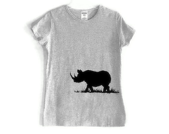 Black Rhinocerous Screenprinted Gray TShirt  Black Ink