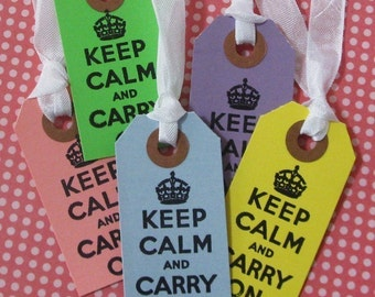 10 small Keep Calm and Carry On bright colored hang tags