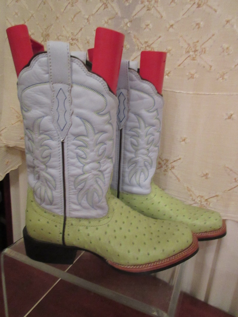 7e9654c7f70 Double H Western Boots sz 7 1/2 Med sky blue top with lime green faux  ostrich bottom China