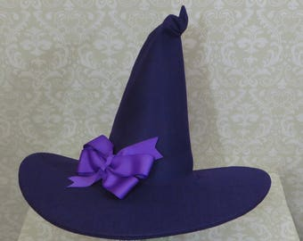 2a45ef7a6b4 Purple Witch Hat- Felt Hat with Bow