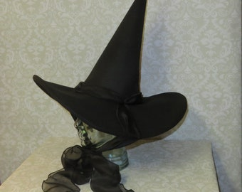 424b5e3f1ebba Whimsical Witch Hat- Black Felt Hat with Wired Brim and Chiffon Ties