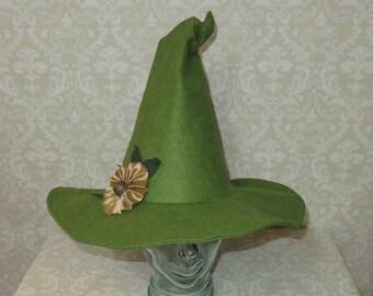 fd02b667b8ac7 Garden Witch Hat- Green Felt Witch Hat