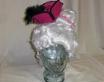 f90f528238c Pirate Hat Fascinator- Fuchsia Pink and Black Mini Tricorn Hat