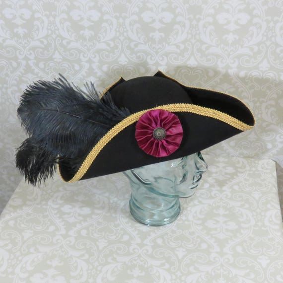 Black Feathers Classic Tricorn with Burgundy Trim and Gold or Burgundy Cockade- 100/% Wool Tricorn Black Pirate Hat