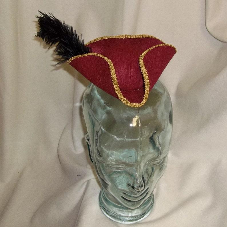 76a8b50e855 Pirate Hat Fascinator Red Gold and Black Mini Tricorn Hat
