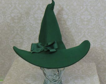 Green Witch Hat- Wool Felt Hat with Bow or Feathers