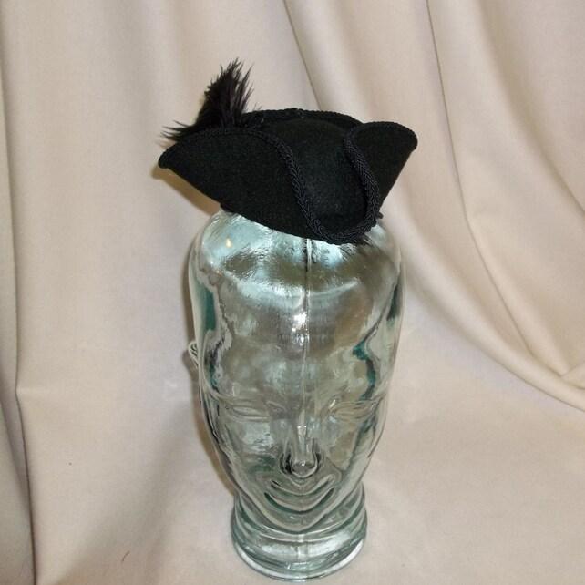 2c0e70b2454 Pirate Hat Fascinator Black Mini Tricorn Hat