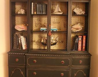 Black Vintage China Cabinet/ Desk/Dresser