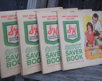 50% off this item, enter LOVE99 at checkout, S&H Green Stamp Book, Vintage Quick Save Book, Stamp Book, Scrapbooking, Mixed Media