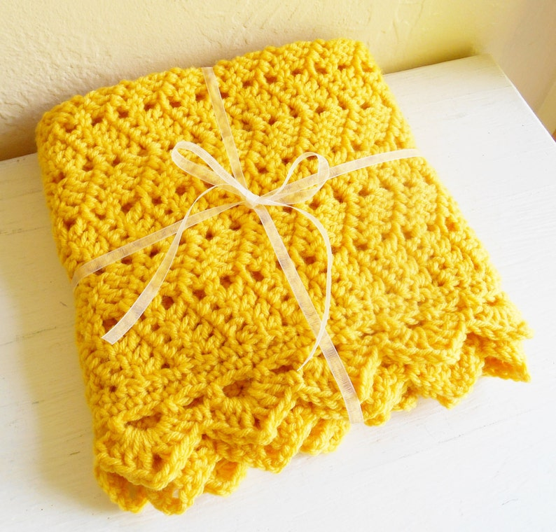 Golden Hand Crochet Doll And Baby Blanket Tied with White Ribbon