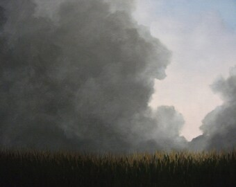 Storm, Clouds, Summer, Rain, Corn Field, Field, Original Landscape Oil Painting