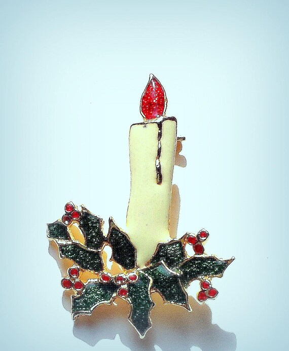 Enamel Christmas Candles Pin