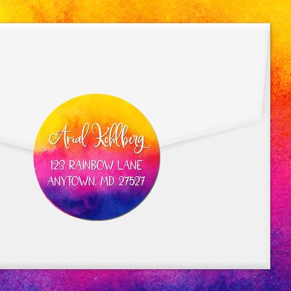 personalized address labels rainbow splash colorful etsy