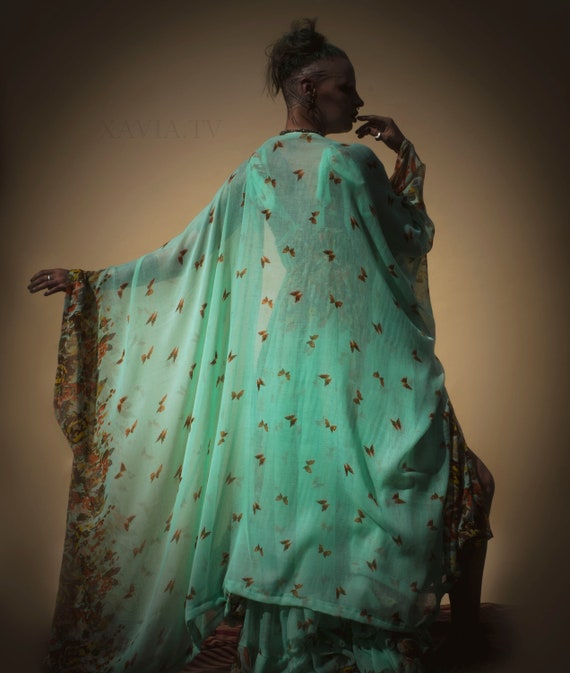 Aqua Butterfly Kaftan Kimono Full Length - Cover Up Robe OS