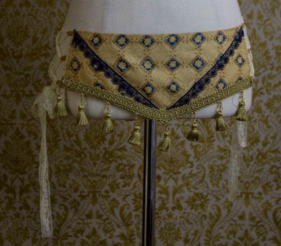 Blue and Gold Hip Belt - Blue Trim Gold Tassels